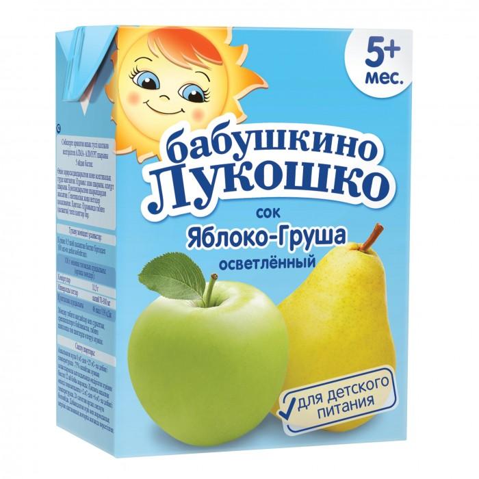 Соки и напитки Бабушкино лукошко Сок Яблоко-груша осветленный с 5 мес. 200 мл пюре бабушкино лукошко кабачок яблоко с 5 мес 100 г