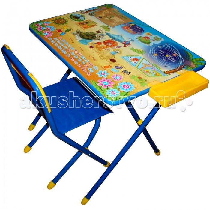 Дэми Набор мебели №3 Львенок и черепахаНабор мебели №3 Львенок и черепахаНабор состоит из стула и стола. Столешница ламинирована, ее легко чистить, мыть, можно также рисовать маркерами и стирать. Углы мебели скруглены. Ножки предметов отделаны мягкими насадками для большей безопасности.   На столешницу нанесен красивый обучающий рисунок, позволяющий вашему малышу ознакомиться с окружающим миром, с буквами, цифрами.   После использования набор легко складывается, в сложенном виде набор занимает мало места.  Размеры: Столешница - 45х60см. Высота до плоскости столешницы - 58 см. Высота сидения - 35 см. Материал металл, пластмасса.  Страна производитель Россия Размер упаковки: 0.52х0.6х0.45 Вес с упаковкой 7.6 кг Объем с упаковкой 0.14 м3<br>