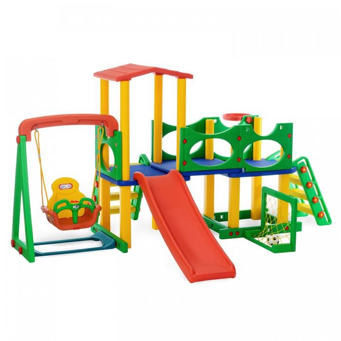 Happy Box Игровой центр JM-731CDИгровой центр JM-731CDЯркий, прочный и многофункциональный центр от Happy Box станет отличным подарком для Вашего ребенка к лету! Оснащенный горкой, качелями, баскетбольным кольцом и воротами на боковой опоре, площадкой с крышей и бортиками на втором ярусе, он несомненно станет центральным объектом для игр вашего ребенка. Все материалы изготовлены из пластика высокого качества, формы отдельных элементов продуманы в целях безопасности и выполнены с округлыми кромками.   Материалы: изготовлен из высококачественных безопасных материалов, предназначенных для производства предметов детской группы  Основные характеристики: - устойчивая безопасная и прочная конструкция - легкая и быстрая сборка - легко содержать в чистоте, так как может подвергаться влажной обработке, не требует специального ухода - 2 надежные и безопасные лесенки - лесенки со ступенями, обладающими шершавой поверхностью, позволяют подняться на второй уровень центра, спуститься с него или скатиться с горки - площадка, расположена на втором уровне - площадка имеет ограничительными бортами безопасности и крышей-навесом - горка подходит для детей в возрасте от 2-х лет и старше - горка оборудована округлыми бортами безопасности - качели подойдут для шестимесячного малыша - качели оборудованы надежными креплениями, удобным и безопасным стульчиком со спинкой и фиксирующим бампером - находясь в качелях, ребенок может играть с музыкальной панелью баскетбольное кольцо можно крепить с любой стороны конструкции - футбольные ворота могут быть установлены с любой стороны конструкции  Размеры: - игрового центра (шхдхв)  324х232х157 см - первой коробки (шхдхв)  1.51х0.29х0.71 см - второй коробки (шхдхв)  1.41х0.21х0.785 см - третьей коробки (шхдхв)  1.03х0.22х0.62 см - Объем: 0.682 см3<br>