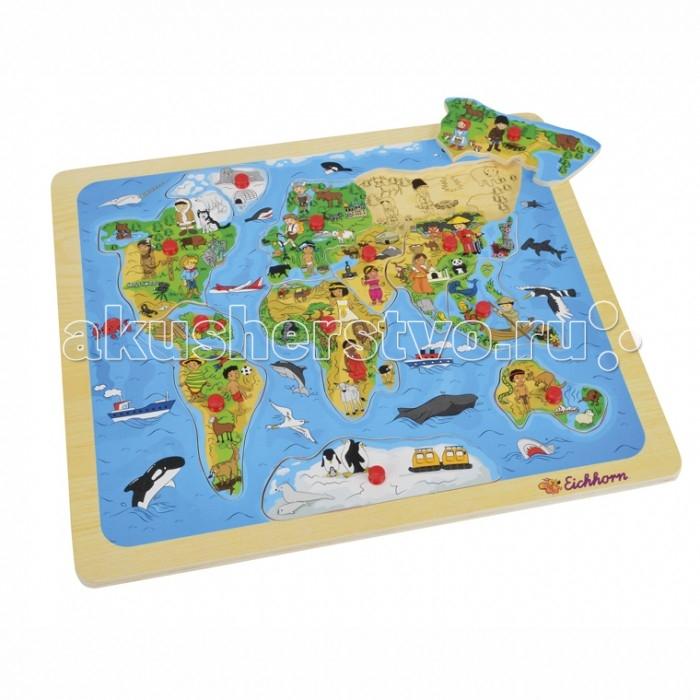 Пазлы Eichhorn Пазл Карта мира 13 деталей eichhorn eichhorn игра на запоминание тачки
