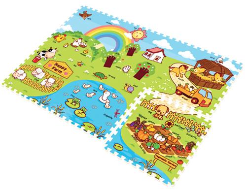 Игровой коврик Mambobaby Ферма 70001Ферма 70001Развивающий Mambobaby Пазл Ферма 70001 для детей от 0 до 4 лет, размер 180х120х2см.   Пазлы коврика являются фрагментами целого изображения, которые необходимо сложить воедино и увидеть законченную картинку.   Изображение на коврике познавательное и очень интересное для ребенка.   Каждый пазл размерами 60х60 см.  Коврик не обязательно собирать целиком. Каждый пазл можно использовать как отдельный коврик, если малыш совсем маленький.   Коврик односторонний из мягкого, но прочного материала.   Не промокает, теплоизолирующий, суперлегкий. Это идеальная площадка для ползания, игр и развития Вашего малыша. Изготовлен из безопасных материалов, не выделяющих токсинов и не имеющих запаха.  Особенности:  Возраст: от 12 месяцев Материал: полиэстер, пористый полиэтилен Размер: 180х120х2см Размер одной детали: 60х60х2 см<br>