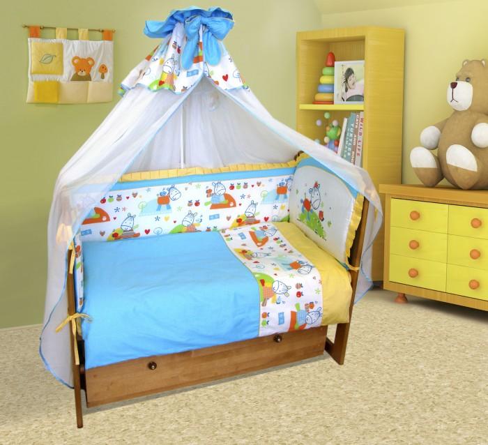 Комплект в кроватку Soni Kids Ослик-хвостик (7 предметов)Ослик-хвостик (7 предметов)Очень красивый высококачественный комплект в кроватку, состоящий из 7 предметов.   Ткань: сатин.  Состав: 100% высококачественный хлопок; балдахин-модельный, верхушка балдахина изготовлена из основной ткани комплекта + вуаль.  Наполнитель: холлофайбер.  Размеры:  Пододеяльник - 140х110 Простынка на резинке - 150х90 Наволочка - 60х40 Одеяло - 140х110 Подушка - 60х40  Бортик из 4-х частей - 61*48+122*44+61*44,  Съёмные чехлы   Размеры чемодана - 60х50х25.<br>