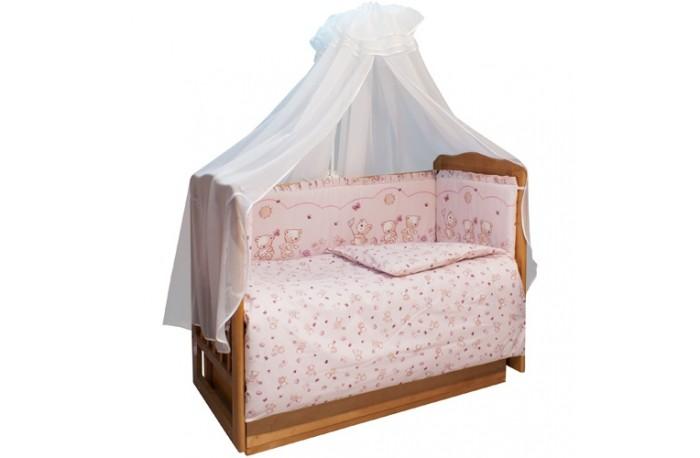 Комплект в кроватку Soni Kids Солнечные мишки (7 предметов)Солнечные мишки (7 предметов)Комплект Солнечные мишки Soni Kids выполнен из высококачественного 100% хлопка с использованием нескольких видов ткани, окрашенной экологически чистой краской. Антибактериальный, гипоаллергенный дышащий наполнитель обеспечивает безопасность и комфорт вашего малыша во время сна.   Размеры: Пододеяльник- 140х110 Простынка на резинке - 150х90 Наволочка -60х40 Одеяло -140х110 Подушка -60х40 Балдахин -420х165 Бортик - 360х44  Тип ткани: поплин. Балдахин -вуаль или сетка 100% п/э. Состав: 100% хлопок Антиаллергенный наполнитель в одеяло, подушку и защитные борта - холлофайбер.  Комплект упакован в чемодан, сделанный из морозоустойчивой плотной пленки, кожи и спанбонда.<br>