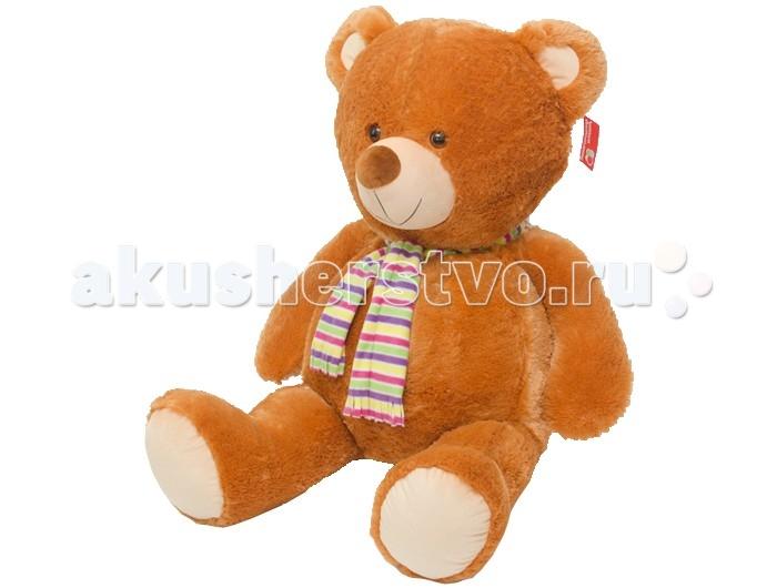 Мягкая игрушка Нижегородская игрушка Медведь в шарфе большой, озвученный 110 смМедведь в шарфе большой, озвученный 110 смМедведь с ярким полосатым шарфом на шее и встроенным звуковым модулем непременно станет настоящим любимцем.   Веселый пушистый медвежонок с мягким толстым тельцем и подвижными лапами изготовлен из высококачественного, гипоаллергенного искусственного меха и синтетического наполнителя, которые безопасны для здоровья ребенка.   Очаровательный мишка выглядит очень забавно и непременно поднимет настроение даже в самый грустный день. Его приятно держать в руках и даже спать с ним в одной кроватке.  Играя с медвежонком у ребенка формируются новые навыки, развиваются тактильные ощущения и фантазия.<br>