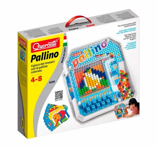 Quercetti Настольная игра ПаллиноНастольная игра ПаллиноQuercetti Настольная игра Паллино - развивает зрительную моторику и координацию, логику, ловкость, реакцию и самоконтроль.  Особенности:  6 карточек с заданиями  Игра с цветными шариками  Цель игры провести цветной шарик по лабиринту и поместить шарик определенного цвета в соответствующее по цвету поле Сменные карточки сделают игру разнообразной и увлекательной<br>