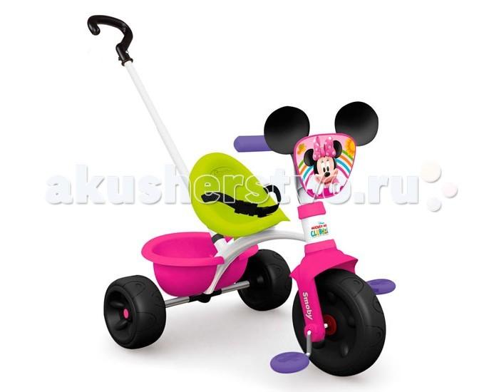 Велосипед трехколесный Smoby Be Move MinnieBe Move MinnieТрехколесный велосипед Smoby Be Move Minnie   Если ваш малыш уже начал ходить и самостоятельно осваивать пространство, то непременно приобретите для него трехколесный велосипед Be Move Winnie от компании Smoby, которая отлично зарекомендовала себя на рынке детских товаров. Этот трехколесный велосипед обладает большим функционалом и трансформируется по мере роста крохи.   Пока малыш не овладеет навыками езды на велосипеде, родители могут катать ребенка, используя удобную съемную ручку, которая регулируется так же по высоте.  Трехколесный велосипед Be Move Winnie выполнен в ярком красочном дизайне в стиле мишки Винни, которого обожают абсолютно все детки и мальчики, и девочки.  При изготовлении велосипеда используется экологически чистый и особо прочный пластик, а также металл и резина.   Особенности:    прочная металлическая рама;  комфортное сидение эргономической формы, регулируемое в трех положениях (ближе-дальше);  съемные трехточечные ремни безопасности;  регулируемый по высоте руль;  во время использования родительской ручки – блокируется движение руля, и педалей;  рифленые нескользкие педали;  колеса изготовлены из пластика;  объемная багажная корзинка, опрокидывающаяся путем нажатия;  максимальная нагрузка - 20 кг.  Родительская ручка не управляет поворотом руля.   Катание на велосипеде развивает у ребенка координацию движений, укрепляет мышцы ног, учит ориентироваться в пространстве, формирует начальные навыки вождения.  Размеры велосипеда (вxдхш): 68х52х52 см. Вес: 4,65 кг.<br>