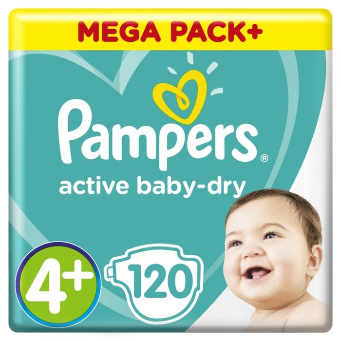 Подгузники Pampers Подгузники Active Baby Maxi Plus Мега р.4+ (9-16 кг) 120 шт. подгузники детские pampers подгузники active baby dry 9 16 кг 4 размер 120 шт