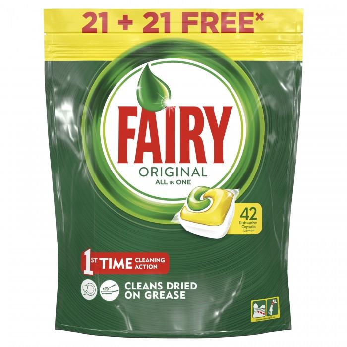 Бытовая химия Fairy P&G Средство для мытья посуды в капсулах All In One Лимон 44 шт. жидкость для мытья посуды aos лимон 1 л