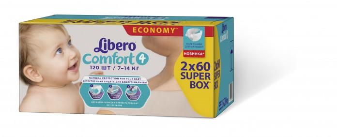 Подгузники Libero Подгузники Comfort супер-бокс Maxi (7-14 кг) 2х60 шт. подгузники libero comfort maxi 7 14 кг 80 шт размер 4
