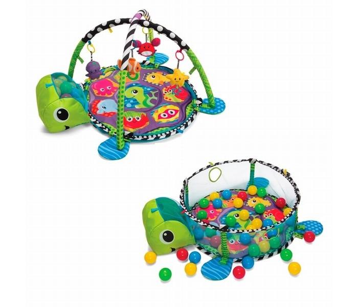 Развивающий коврик Infantino Растем вместе 2 в 1Растем вместе 2 в 1Развивающий центр Растем вместе – уникальный центр с возможностью трансформации в два игровых пространства: мягкий коврик с дугами и съемными игрушками и компактный манеж с бортиками-сетками, наполненный яркими шарами.  Этот центр предлагает множество вариантов развлечений для малышей разного возраста и может использоваться от рождения и на протяжении длительного времени!  Мягкий коврик в форме морской черепахи с двумя перекрестными дугами имеет в комплекте 4 подвесные игрушки: краба-зеркальце, рыбку-прорезыватель, морскую звезду с кольцом на ленте и осьминога-погремушку.  Игровой коврик с легкостью превращается в мини-манеж с шарами - достаточно просто поднять сетчатые бортики. В голове коврика-черепахи уже хранятся 40 ярких шаров, которые ни одного малыша не оставят равнодушным.   Размеры коврика: диаметр 68 см. Подарочная коробка, размеры: 61 х 50 х 10,4 см  Вес с коробкой: 1,6 кг  Пожалуйста, ознакомьтесь с подробным описанием и видеороликом ниже.<br>
