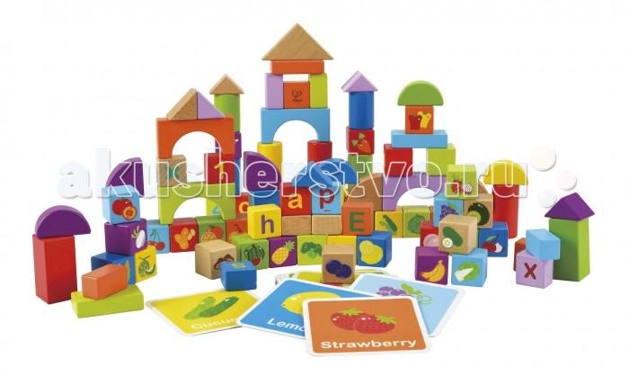 Деревянная игрушка Hape Конструктор 138 деталей Е8303Конструктор 138 деталей Е8303Конструктор Hape Е8303 состоит из ярких блоков различной формы, предлагая малышу множество игр и широкие возможности для творчества - выстраивайте домики и пирамидки, складывайте кубики по цветам и формам.   В наборе находятся кубики с изображением фруктов и овощей, цифр и букв английского алфавита.   Благодаря карточкам с изображением предмета на цветном фоне и названием на английском языке - вы можете познакомить малыша с миром цвета, еды и английским алфавитом.  С деревянным конструктором Hape E8303 малыш развивает навыки мелкой моторики и воображение, учится мыслить логически, развивает моторику и координацию глаз.   Обучает формам и цветам, знакомит с животным и растительным миром.<br>