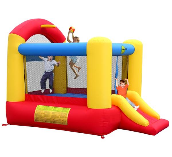 Happy Hop Надувной батут с горкой Высокий прыжок 9304NНадувной батут с горкой Высокий прыжок 9304NНадувной батут с горкой Happy Hop Высокий прыжок 9304N - игровая модель для детей любого возраста. Установить можно как на детской площадке общего пользования, так и на дачном участке.   Технические характеристики:  Габариты модели: 330 x 230 x 230 см Высота основания: 40 см Размеры батута: 240 x 210 см  Размеры прыжковой поверхности: 190 x 165 см  Высота защитной сетки-ограждения: 120 см  Размер горки: 92 x 85 см Высота площадки горки: 40 см  Ширина скользящей поверхности: 55 см  Допустимая нагрузка: 113 кг  Допустимое количество детей: 3.  Изделие выдерживает широкий диапазон температур: от –10 до +40 °C Прочность батута на растяжение - до 136 кг Прочность на разрыв - до 14 кг Прочность на соединение - до 27 кг   Материал надувного батута  Прыжковая поверхность: ПВХ ламинированный (laminated PVC) Поверхность батута: ламинированная ткань Оксфорд  Застежки: лавсан  Крепеж к земле: пластмасса.  Насос батута высокого качества, безопасен при использовании и безвреден для окружающей среды.  Насос можно использовать при температуре от -15 до + 40 °C.  Оснащен устройством защиты.   При возникновении в насосе короткого замыкания или при прочих возникших проблемах при его эксплуатации, он немедленно выключается, тем самым обеспечивает безопасность пользователю надувного батута. Насос отвечает экологическим стандартам ЕС, а также имеет сертификат безопасности GS.  Комплектация: Батут Воздухонагнетатель (компрессор) Сумка для хранения батута Пластиковые колышки для фиксации батута  Пластиковые колышки для фиксации воздухонагнетателя  Ремкомплект (по два кусочка ткани каждого цвета) Инструкция на русском языке.<br>