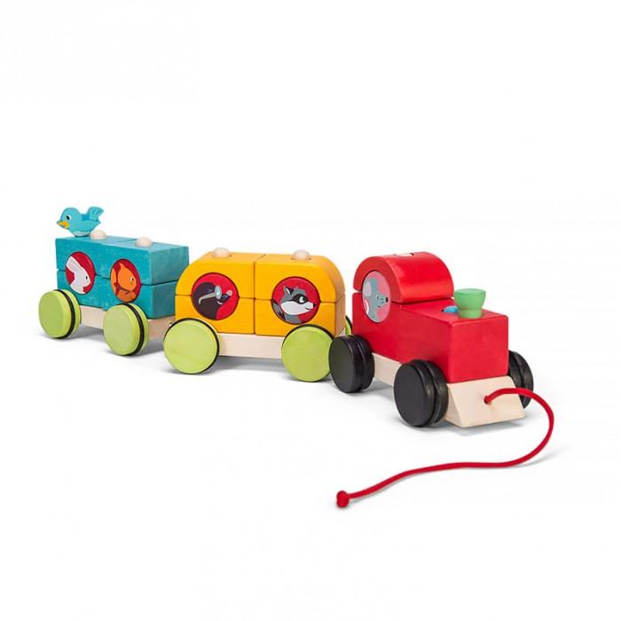 Каталка-игрушка LeToyVan Поезд Лесной экспрессПоезд Лесной экспрессLe Toy Van Каталка-поезд Лесной экспресс - это классическая деревянная игрушка-поезд на веревочке для самых маленьких. В составе 3 вагончика и на каждом по 2 пирамидки. Фигурки можно менять местами. Большие колеса имеют пластиковые накладки, которые защитят пол в вашей квартире и уменьшат шум.  В комплекте:  3 вагончика 4 пирамидки<br>