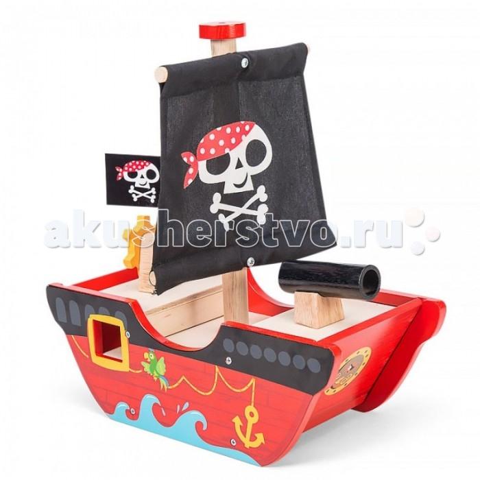 Деревянная игрушка LeToyVan Пиратский корабль Смелый капитанПиратский корабль Смелый капитанLe Toy Van Пиратский корабль Смелый капитан окунитесь в мир захватывающих приключений с первым деревянными пиратским кораблем. Подвижный руль и игрушечная пушка, дополненные грозным черным парусом с Веселым Роджером дадут возможность почувствовать себя смелым пиратом, бороздящим опасные просторы Карибского моря, а удобство игры обеспечат раздвижные панели на носу и корме корабля.Деревянный пиратский корабль с тканевыми парусами и пушкой. Высокая мачта, руль вращается, передняя и задняя панель съемные.   Особенности:  высокая мачта, руль вращается  передняя и задняя панель съемные    тканевый парус   подвижный штурвал  вращающаяся пушка   раздвижные панели на корпусе<br>