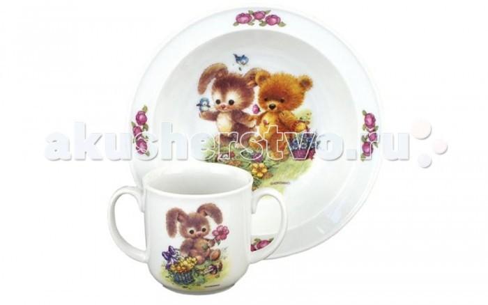 Reutter Porzellan Набор детской посуды Медвежонок и зайчонок 2 предмета