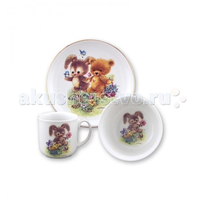 Reutter Porzellan Набор детской посуды Медвежонок и зайчонок 3 предмета