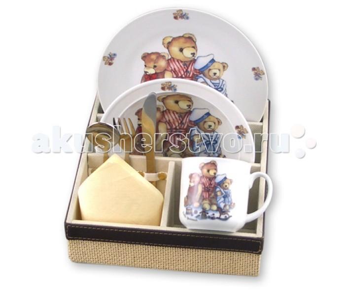 Reutter Porzellan Набор детской посуды с подставкой Мишки Генри 6 предметов