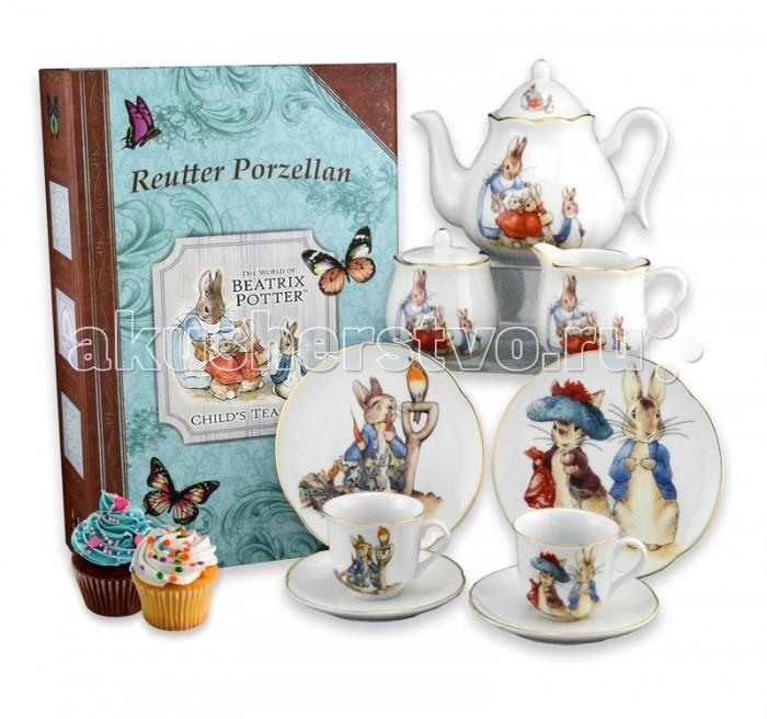 Reutter Porzellan Детский чайный сервиз Кролик Питер и друзья в подарочном кофре-книжке на 2 персоныДетский чайный сервиз Кролик Питер и друзья в подарочном кофре-книжке на 2 персоныReutter Porzellan Детский чайный сервиз Кролик Питер и друзья в подарочном кофре-книжке на 2 персоны. Чайный сервиз с оригинальными иллюстрациями героев книжек Беатрис Поттер: кролик Питер, зайчик Бенджамин и крольчата Флопси, Мопси и Коттонтейл под бдительным присмотром своей мамы для детей и взрослых.   Сервиз состоит из девяти предметов: двух тарелок д-15 см, двух чайных чашек объемом 90 мл и двух блюдец, чайника объемом 350 мл, сахарницы и сливочника. Сервиз аккуратно упакован в подарочную коробку- книжку на память для безопасного хранения.   Размер коробки 40 х 30 х 12 см. Посуда пригодна для мытья в посудомоечной машине.<br>