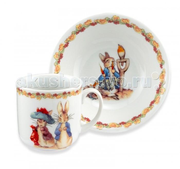 Reutter Porzellan Набор детской посуды Кролик Питер с морковкой 2 предмета