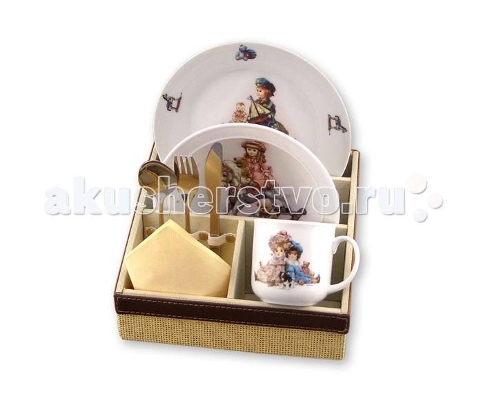 Reutter Porzellan Набор детской посуды с подставкой Старинные игрушки 6 предметов