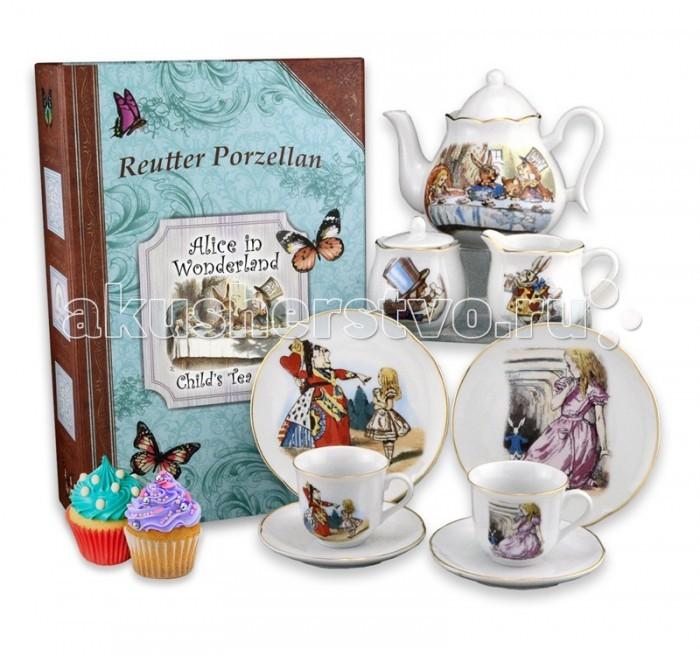 Reutter Porzellan Детский чайный сервиз Алиса в стране чудес в подарочном кофре-книжке на 2 персоныДетский чайный сервиз Алиса в стране чудес в подарочном кофре-книжке на 2 персоныReutter Porzellan Детский чайный сервиз Алиса в стране чудес в подарочном кофре-книжке на 2 персоны. Чайный сервиз с оригинальными иллюстрациями Джона Тенниела к классической истории Льюиса Кэррола Алиса в стране чудес для детей и взрослых.   Сервиз состоит из девяти предметов: двух тарелок д-15 см, двух чайных чашек объемом 90 мл и двух блюдец, чайника объемом 350 мл, сахарницы и сливочника.   Сервиз аккуратно упакован в подарочную коробку - книжку на память для безопасного хранения. Посуда пригодна для мытья в посудомоечной машине.   Размер коробки 40 х 30 х 12 см<br>