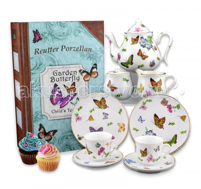 Reutter Porzellan Детский чайный сервиз Бабочки в подарочном кофре-книжке на 2 персоныДетский чайный сервиз Бабочки в подарочном кофре-книжке на 2 персоныReutter Porzellan Детский чайный сервиз Бабочки в подарочном кофре-книжке на 2 персоны. Чайный сервиз с иллюстрациями из коллекции садовых бабочек для детей и взрослых.   Сервиз состоит из девяти предметов: двух тарелок д-15 см, двух чайных чашек объемом 90 мл и двух блюдец, чайника объемом 350 мл, сахарницы и сливочника.   Сервиз аккуратно упакован в подарочную коробку - книжку на память для безопасного хранения. Посуда пригодна для мытья в посудомоечной машине.  Размер коробки 40 х 30 х 12 см<br>