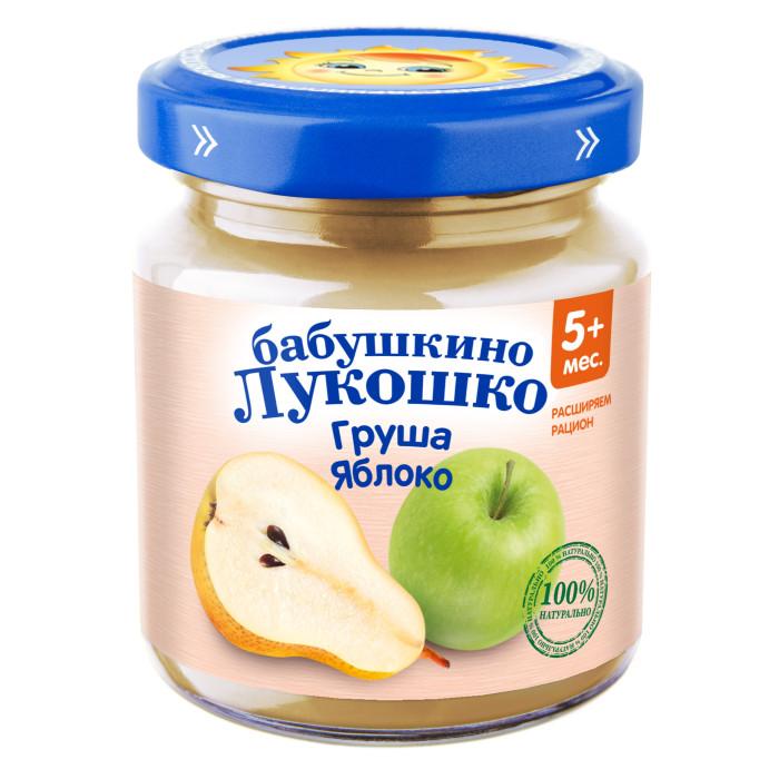 Пюре Бабушкино лукошко Пюре Груша, яблоко с 5 мес., 100 г пюре бабушкино лукошко морковь яблоко с 5 мес 100 г