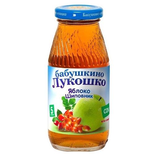 Соки и напитки Бабушкино лукошко Сок Яблоко, шиповник осветленный с 5 мес., 200 мл пюре бабушкино лукошко кабачок яблоко с 5 мес 100 г