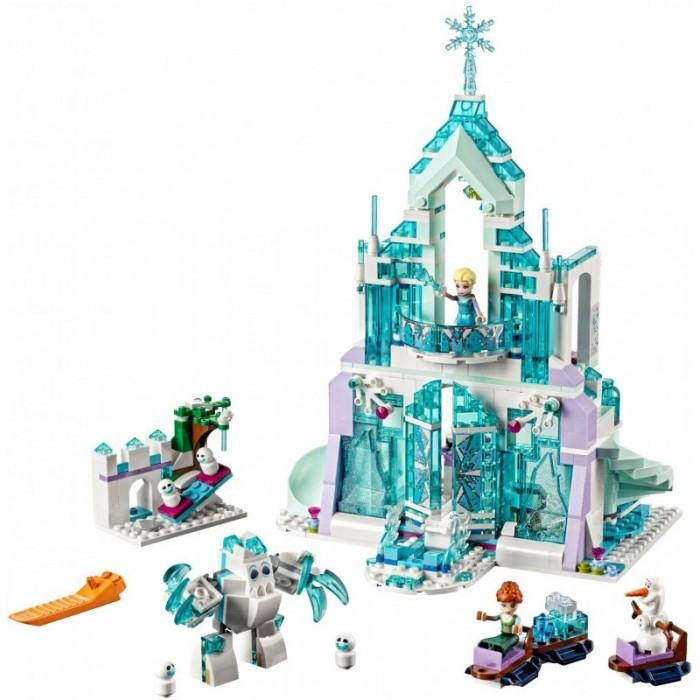 Конструктор Lego Disney Princesses Волшебный ледяной замок ЭльзыDisney Princesses Волшебный ледяной замок ЭльзыКонструктор Lego Disney Princesses Волшебный ледяной замок Эльзы создан по мотивам известного мультфильма Frozen. Такой конструктор приведет в восторг маленькую поклонницу мультфильма и вдохновит ее на творческую работу по созданию великолепного ледяного дворца принцессы Эльзы.  Особенности: Классический конструктор включает в себя 701 деталь, фигурки персонажей и дополнительные аксессуары.  Из деталей конструктора малышка может собрать необычайной красоты дворец с лестницей, ведущей на второй этаж, и горкой, по которой можно спуститься и очутиться на игровой площадке. На первом этаже дворца размещается гостиная, где Эльза угостит гостей чаем и вкусным тортом. Маленькие фигурные чашки, чайник и угощение прилагаются, малышка может ставить их на столе в гостиной. По волшебной лестнице Анна может подняться в спальню принцессы, где подруги могут поболтать и отдохнуть. На игровой площадке есть качели, где веселые друзья могут провести время. Помимо фигурок Эльзы и Анны в комплекте есть веселый снеговик Олаф, чудный Маршмеллоу и забавные Снежки. Среди дополнительных аксессуаров имеются сани Анны, снеговика и Маршмеллоу, а также ледянка для катания с горки. Набор Lego Disney Princesses совместим с другими наборами этой же серии.  Подробная инструкция, входящая в комплект, позволит ребенку собирать конструктор, как в присутствии взрослого, так и самостоятельно.  Конструкторы Lego не только развлекут девочку, но и позволят ей усовершенствовать мелкую моторику, развить воображение и творческую фантазию.   Все детали конструктора изготовлены из безопасного и качественного материала, при производстве используется многоступенчатая система контроля качества.<br>