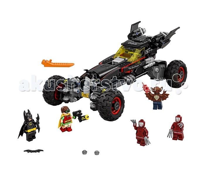 Конструктор Lego Batman Movie 70905 БэтмобильBatman Movie 70905 БэтмобильКонструктор Lego Batman Movie 70905 Бэтмобиль состоит из 581 детали и 5 минифигурок.  Бэтмобиль продуман до мельчайших деталей: начиная от внешнего вида и заканчивая функционалом. Автомобиль выполнен в черном цвете с серыми и красными элементами. На капоте расположена летучая мышь, в задней части корпуса установлены подвижные крылья летучей мыши. По бокам – выхлопные трубы. У бэтмобиля двухместная кабина с жёлтым лобовым стеклом. В кабине установлен руль, кнопки, панель управления. При повороте детали в задней части корпуса крыша салона откидывается. Подвижные резиновые колеса Бэтмобиля могут менять положение как угодно. При определенной высоте и наклоне колес бэтмобиль может гнать, преодолевать любые высокие препятствия или даже ехать боком! Положение колёс надежно закрепляется. Бэтмобиль также умеет стрелять: по бокам установлено 2 шутера.  На минифигурку Бэтмена надета маска, пояс со специальными гаджетами и тканевый плащ. В руках у него бэтаранг.  Минифигурка Робина одета в тканевый плащ и очки. У него 2 выражения лица: довольное и удивленное. В руках Робина Bat Merch.  Мэн-Бэт – мутант, бывший ученый, пытавшийся создать лекарство для слепых и глухих и испробовавший его на себе. У его минифигурки руки-крылья, в одной из которых динамит, и 2 выражения лица: злое и испуганное.  Близнецы Кабуки – 2 телохранительницы, нанятые Пингвином. Они владеют боевыми искусствами, а на их руках острые как бритва лезвия.<br>