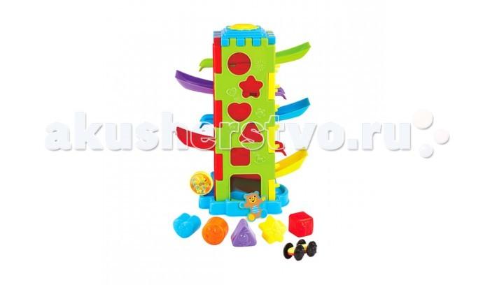 Сортер Playgo Развивающая игрушка Башня испытаний 5 в 1Развивающая игрушка Башня испытаний 5 в 1Сортер Playgo Развивающая игрушка Башня испытаний 5 в 1 предназначена для детей от 1 года, которые только начинают изучать окружающий их мир.   Конструкция игрушки представляет собой основание с вертикальной башей, с одной стороны украшенной красочными наклейками с логотипами компаний спонсоров автогонок; а с другой стороны её можно использовать как сортер.<br>