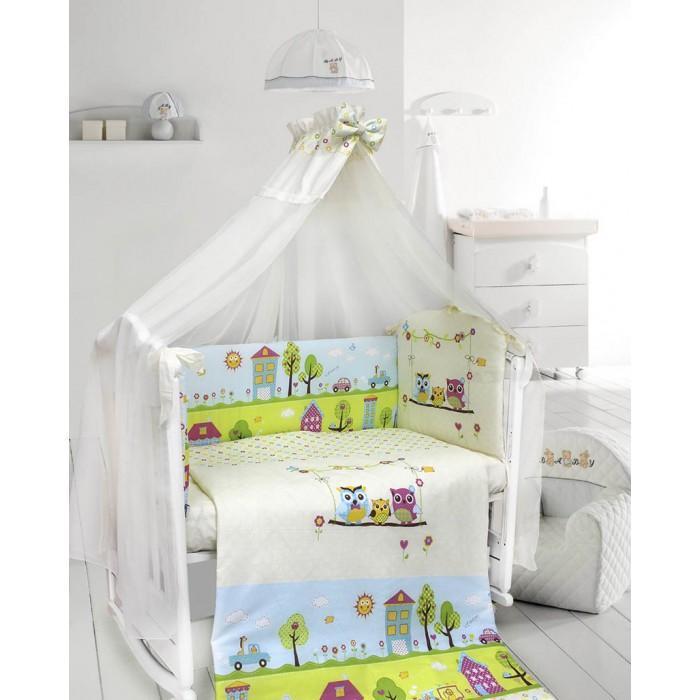 Комплект в кроватку Bombus Family Совята (7 предметов)Family Совята (7 предметов)Комплект в кроватку Bombus Family Совята (7 предметов)прекрасно впишется в любой интерьер. Рисунок яркий, позитивный, но не утомляющий глаза. Любому малышу понравится рассматривать рисунки  на бампере комплекта. Такой комплект подойдет как для мальчика, так и для девочки.   Комплект выполнен из высококачественной хлопковой ткани(бязи). В качестве наполнителя используется Холлкон, он хорошо пропускает влагу, гипоаллергенный, дышащий и создает комфортный микроклимат в кроватке.    В комплект входят 7 предметов: бампер (40 х 360 см) балдахин (170 х 400 см) пододеяльник (98 х 145 см) простыня (98 х 148 см) наволочка (40 х 60 см) одеяло (95 х 143 см) подушка (40 х 60 см)<br>