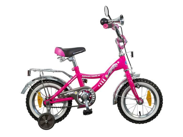 Велосипед двухколесный Novatrack Bagira 12Bagira 12Велосипед двухколесный Novatrack Bagira 12 - отличный вариант для ребенка старше двух лет, чтобы начать осваивать этот вид транспорта с пользой для здоровья. Модель имеет стильный дизайн, безупречную сборку и отличную функциональность. Данная модель маневренна и легко управляется, поэтому ребенку будет несложно и интересно учиться езде.   Особенности: стальная рама мягкое сиденье и руль регулируются по высоте дополнительные аксессуары:  блестящий багажник, зеркальце, гудок ножной и ручной тормоз съемные дополнительные колеса защита цепи от попадания нижней части одежды в механизм Для безопасности велосипед оснащен ограничителем поворота, который не позволяет рулю повернуться на очень большой градус и тем самым предотвращает падение.   Диаметр колес: 12<br>