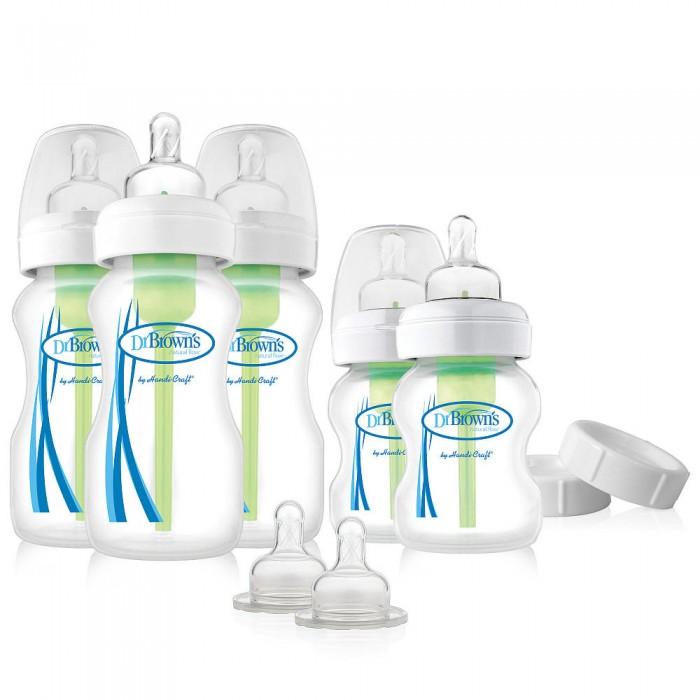 Бутылочка Dr.Browns Набор Options с широким горлышком из пяти бутылочекНабор Options с широким горлышком из пяти бутылочекБутылочка Dr.Browns Набор Options с широким горлышком из пяти бутылочек  - это единственная детская бутылочка с запатентованной вентиляционной системой, которая препятствует образованию вакуума в бутылочке и не формирует пузырьки воздуха, образующиеся в большинстве бутылочек, а также создаёт при кормлении ребёнка положительное давление и бесперебойное покапельное вытекание жидкости, аналогичное кормлению материнской грудью.   Особенности: не содержит ПВХ, свинец, фталаты и бисфенол А  сохраняет витамины С, А и Е  исключает заглатывание воздуха ребёнком в процессе кормления  препятствует образованию вакуума в бутылочке и формированию пузырьков воздуха  позволяет снизить вероятность колик, срыгивания и газов. Бутылочка Dr.Brown's рекомендована специалистами для всех детей, находящихся на смешанном и искусственном вскармливании, а также для новорожденных с ослабленным сосательным рефлексом. Врачи-неонатологи во всём мире высоко оценивают противоколиковые свойства вентиляционной системы бутылочки Dr.Browns, которая имитирует процесс грудного вскармливания.  В комплекте: три бутылочки по 270 мл две бутылочки по 150 мл   две соски от 3-х мес. две крышки три ёршика для вентиляционной системы<br>