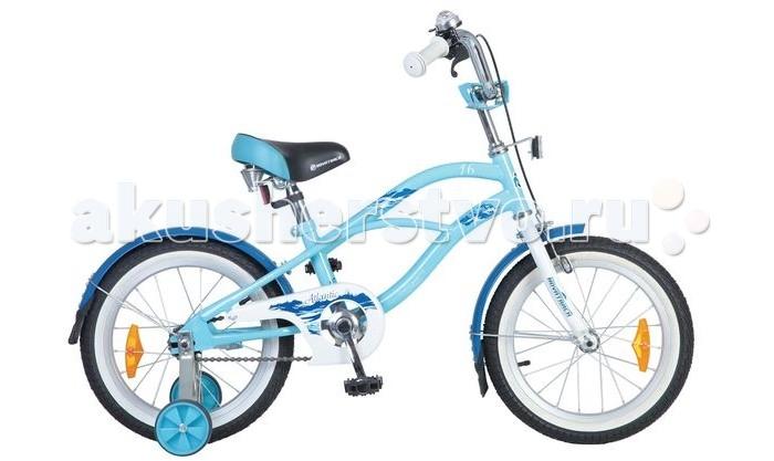Велосипед двухколесный Novatrack Cruiser 16Cruiser 16Велосипед двухколесный Novatrack Cruiser 16 - надежный городской велосипед для детей от 5 лет. Модель выполнена в оригинальном дизайне и одинаково подойдет как мальчикам, так и девочкам. Велосипед предназначен для прогулок по паркам, улицам, а также для катания по пересеченной местности.  Особенности: сиденье и руль регулируются по высоте широкие надувные колеса удобные нескользящие ручки ручной тормоз звонок на руле светоотражатели Диаметр колес: 16<br>