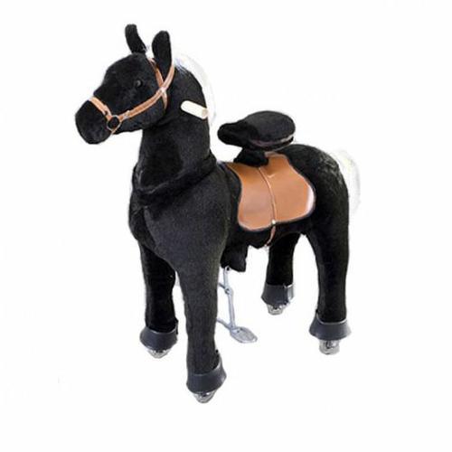 Каталка Ponycycle Черная лошадка средняя 4181Черная лошадка средняя 4181Каталка Ponycycle Черная лошадка средняя озвученная - это детская механическая лошадка, уникальная игрушка для верховой езды, которая позволяет малышу ощутить себя настоящим наездником. Чтобы привести лошадку в действие Вам не понадобятся батарейки или аккумуляторы, движение происходит механически. Для этого ребенку нужно сесть в седло, лицом вперед, держась руками за деревянные ручки на голове поницикла, надавить на педали-стремена и немного привстать, седло поднимется вверх, затем наездник сгибает колени и седло опускается вниз. Полная имитация верховой езды.  Чем активнее ребенок будет садиться, и привставать в седле, тем резвее будет скакать его лошадка. Ваш малыш получит ни с чем несравнимое ощущение настоящей верховой езды. При этом лошадка не перегружает опорно-двигательный аппарат ребенка, это можно сказать – первый тренажер при игре с которым у ребенка развиваются основные группы мышц. Езда на лошадке положительно влияет на осанку, что немаловажно для дошкольников и школьников младших классов.  Конструкция и материалы: Каркас игрушки изготовлен из высокопрочной стали, рычажно-шарнирный механизм сбалансирован и устойчив, корпус выполнен из пенопласта Ножки игрушки оснащены полиуретановыми колесами, диаметром 80 мм, едут плавно и бесшумно В механизме колес имеется противооткатная защита Экстерьер повторяет внешний вид животного Меховая одежка выполнена из мягкого, гипоаллергенного материала Срок службы 1 год  Важная информация: Всадник обязательно должен сидеть в седле, а не на корпусе поницикла Одновременно кататься на поницикле может только один всадник Поницикл двигается только вперед. Не пытайтесь двигать его назад, так можно повредить колеса Никогда не просовывайте руки между сиденьем седла и корпусом поницикла Хранить поницикл нужно в вертикальном положении, в сухом, проветриваемом помещении От 4-и до 10-и лет  Обслуживание: При необходимости шкурка легко чистится, с помощью моющих 