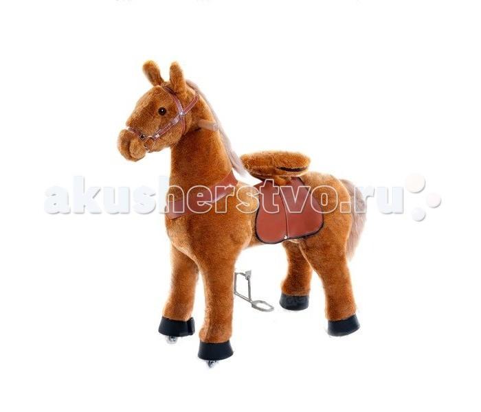 Каталка Ponycycle Светло-коричневая лошадка средняя 4141Светло-коричневая лошадка средняя 4141Каталка Ponycycle Светло-коричневая лошадка средняя озвученная - это детская механическая лошадка, уникальная игрушка для верховой езды, которая позволяет малышу ощутить себя настоящим наездником.   Чтобы привести лошадку в действие Вам не понадобятся батарейки или аккумуляторы, движение происходит механически. Для этого ребенку нужно сесть в седло, лицом вперед, держась руками за деревянные ручки на голове поницикла, надавить на педали-стремена и немного привстать, седло поднимется вверх, затем наездник сгибает колени и седло опускается вниз. Полная имитация верховой езды.  Чем активнее ребенок будет садиться, и привставать в седле, тем резвее будет скакать его лошадка. Ваш малыш получит ни с чем несравнимое ощущение настоящей верховой езды. При этом лошадка не перегружает опорно-двигательный аппарат ребенка, это можно сказать – первый тренажер при игре с которым у ребенка развиваются основные группы мышц. Езда на лошадке положительно влияет на осанку, что немаловажно для дошкольников и школьников младших классов.  Конструкция и материалы: Каркас игрушки изготовлен из высокопрочной стали, рычажно-шарнирный механизм сбалансирован и устойчив, корпус выполнен из пенопласта Ножки игрушки оснащены полиуретановыми колесами, диаметром 80 мм, едут плавно и бесшумно В механизме колес имеется противооткатная защита Экстерьер повторяет внешний вид животного Меховая одежка выполнена из мягкого, гипоаллергенного материала Срок службы 1 год  Важная информация: Всадник обязательно должен сидеть в седле, а не на корпусе поницикла Одновременно кататься на поницикле может только один всадник Поницикл двигается только вперед. Не пытайтесь двигать его назад, так можно повредить колеса Никогда не просовывайте руки между сиденьем седла и корпусом поницикла Хранить поницикл нужно в вертикальном положении, в сухом, проветриваемом помещении От 4-и до 10-и лет  Обслуживание: При необходимости шкурк