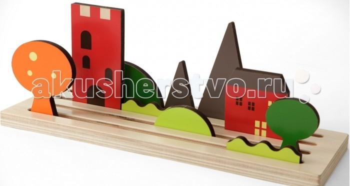 Деревянная игрушка Shusha ПейзажПейзажShusha Деревянная игрушка Пейзаж - подбираете детали и вставляйте их в желобки. Составляете различные времена года, время суток и пейзажи. Все детали двусторонние. Игра была удостоена находиться  на международной выставке в Нюрнбрге в галерее игровых Трендов 2016г. Это игра 3D, но из традиционных материалов.<br>
