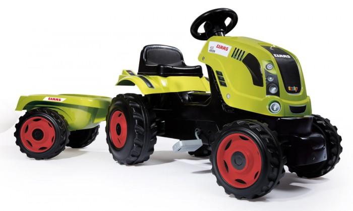 Smoby Трактор педальный XL с прицепом ClaasТрактор педальный XL с прицепом ClaasSmoby Трактор педальный XL с прицепом, Claas, 0.142 х 0.044 х 0.055 см благодаря этому трактору, ваш ребенок больше времени будет  проводить на свежем воздухе. А также, будет стимулировать желание ребенка вам помочь  по господартсву. Ведь благодаря прочному и вместительному  прицепу, ваш малыш сможет перевезти песок, камни, или урожай с грядок.   Педали трактора при необходимости фиксируются, таким образом, транспорт более устойчивый и безопасный для малыша. Передние колеса поворотные, что делает трактор более маневренным.   Идеальный подарок для мальчика на 3 годика!  Управление рулевое  Приводится в движение педалями  Цепной привод на заднее левое колесо  Прицеп съемный  колеса пластмассовые  Капот открывается  Максимальная нагрузка 50 кг  Возраст: Рекомендуется детям от 3 лет до 12 лет.<br>
