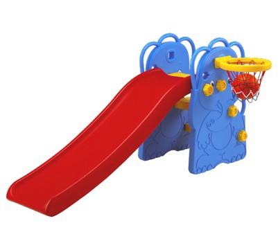 Горка Edu-Play Слон с баскетбольным кольцомСлон с баскетбольным кольцомДетская горка Слоник в комплекте с баскетбольной корзиной и мячом, предназначена для игр на улице и в помещении.   Для детей в возрасте от 18 месяцев до 4 лет, максимальная нагрузка 20кг.   Дизайн горки разработан для постоянного движения, что способствует развитию координации и различных групп мышц ребенка.   Детская горка также подойдет для дачи.   Изготовлена из прочного экологически чистого пластика, безопасного для людей, конструкция прочная и надежная, прослужит долгие годы.   Размер: ширина - 37 см, длина - 138 см, высота - 80 см<br>