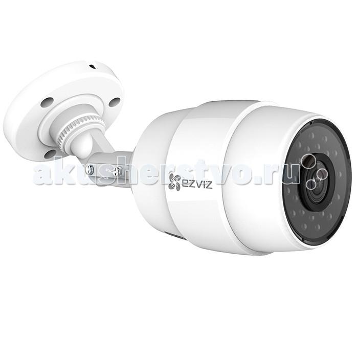 Ezviz Уличная IP-камера C3C Wi-FiУличная IP-камера C3C Wi-FiEzviz Уличная IP-камера C3C Wi-Fi - компактная уличная Wi-Fi камера с HD качеством видео и ИК-подсветкой до 30 м.   Особенности: данная модель имеет простую систему крепления высокий уровень влаго- и пылезащиты, благодаря чему может быть установлена в любом подходящем месте, легко перенесет непогоду и температурные перепады питается от стандартного адаптера имеет широкий угол обзора и оборудована ИК-подсветкой до 30м для съемки в ночное время суток детектор движения фиксирует любые изменения и оповещает об этом пользователя прямую трансляцию происходящего можно посмотреть со смартфона или планшета, подключившись к устройству через приложение  возможна запись видео на microSD-карту до 128 Гб Технические характеристики: разрешение матрицы- 1.0 Мп размер и тип сенсора- 1/3 CMOS разрешение- 1280x720 фокусировка- фиксированная объектив 2.8 мм чувствительность: 0.02 лк (F2.0,AGC вкл), 0 лк с IR частота кадров в режиме видео- 25 угол обзора- 92° по горизонтали, 114° по диагонали дальность действия ИК: до 30 метров формат записи видео: H.264 поддержка карт памяти: MicroSD до 128ГБ WDR (широкий динамический диапазон - съемка в условиях яркого света) простая настройка через облако EZVIZ двойное шифрование записи рабочая температура: от - 30°С до +60°С Размеры: 176.3 x 83.5 x 69.8 мм<br>