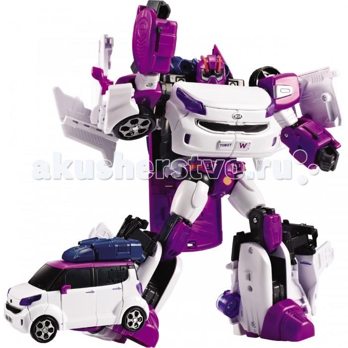 Tobot Робот-трансформер Evolution W со светом и звукомРобот-трансформер Evolution W со светом и звукомTobot Робот-трансформер Evolution W со светом и звуком трансформируется из легкового автомобиля в устрашающего робота и обратно.   Такое интересное превращение в результате нескольких несложных манипуляций надолго займёт каждого мальчишку, а собранный робот развлечёт ребёнка световыми и звуковыми эффектами, благодаря которым игра с ним станет ещё реалистичнее и интереснее.  Особенности: Замечательная игрушка выполнена по мотивам популярного мультфильма «Тобот», и является миниатюрной копией одного из его персонажей.  благодаря несложным манипуляциям легко легковая машинка бело-сиреневого цвета с тонированными стёклами трансформируется в робота и обратно, для этого необходимо открыть ключем-токеном специальную защёлку.  В комплекте находятся красочные наклейки, которыми малыш сможет украсить автомобиль по своему усмотрению. Автомобиль можно катать по поверхности, благодаря крутящимся колёсам с рельефным протектором. Благодаря точному исполнению всех деталей и их качественному соединению, трансформацию можно производить несчётное количество раз. Игрушка имеет компактный размер, удобный для манипуляций детскими ручками. Игрушка оснащена специальным модулем, благодаря которому развлечёт малыша световыми и звуковыми эффектами. Изделие изготовлено из ударопрочного пластика, поэтому игрушка порадует ребёнка своей долговечностью. Специально для мини Тобота ребёнок придумает множество увлекательных сюжетов для игр, в которых он станет главным персонажем. Занимаясь с трансформером, ребёнок улучшит память, научится размышлять логически, потренирует моторику рук, раскроет воображение и фантазию. Игрушка выполнена из качественных материалов и имеет требуемые сертификаты соответствия. Комплект: робот, ключ-токен, наклейки, световой-звуковой модуль.  Возраст: от 3 лет.<br>
