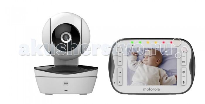 """Motorola Видеоняня MBP43SВидеоняня MBP43SMotorola Видеоняня MBP43S  представляет собой беспроводное устройство наблюдения за ребенком, которое позволит не только слышать, но и видеть Вашего ребенка.   Видеоняня Motorola MBP43S оснащена большим цветным дисплеем с диагональю экрана 3,5. Возможность управления камерой с помощью родительского блока делает эту модель еще более удобной и превращает ее в незаменимого   Особенности: Цветной LCD дисплей, диагональ 3,5"""" Дистанционное масштабирование, изменение, изменение положения и угла камеры;  Инфракрасный ночной режим;  Датчик комнатной температуры; Пять полифонических колыбельных; Пять световых индикаторов уровня звука; Радиус действия до 300 м; Двусторонняя связь; Высокочувствительный микрофон; Беспроводная технология FHSS 2,4 ГГц; Цветной LCD дисплей, диагональ 3,5"""" до 25 кадров в секунду; Дистанционное масштабирование, изменение положения и угла наклона камеры;  Датчик комнатной температуры; Пять полифонических колыбельных; Световые индикаторы уровня звука; Сигнал о выходе из зоны действия сети; Удобная подставка; Оповещения о низком уровне заряда аккумулятора; Перезаряжаемый аккумулятор (родительский модуль) Рабочая частота от 2,4 до 2,48 ГГц Количество каналов 10 Комплектация:  Родительский модуль Детский модуль Никель-металлгидридный аккумулятор Блок питания для родительского модуля Блок (блоки) питания для детского модуля  В комплектах с несколькими камерами каждая камера снабжена блоком питания.<br>"""