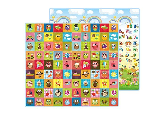 Игровой коврик Mambobaby Совята и Английский алфавит двусторонний 200 х 180 х 1 см