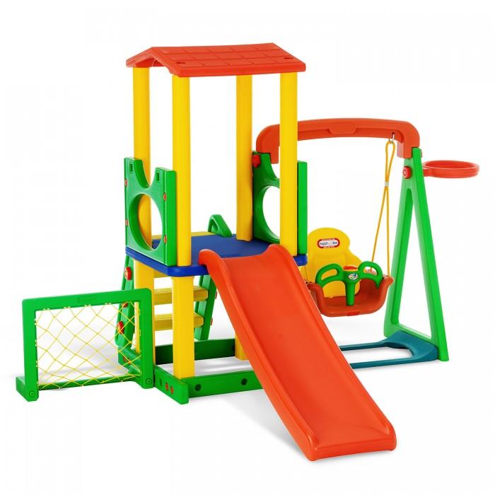 Happy Box Игровой комплекс JM-731BDИгровой комплекс JM-731BDИгровой центр JM-731BD изготовлен из высококачественного пластика HDPE и состоит из горки с гладкой поверхностью и округлыми бортами безопасности, качелей с музыкальной панелью. Лесенка надежна и безопасна с нескользящими ступенями.Футбольные ворота и баскетбольное кольцо крепятся с любой стороны конструкции. Площадка на втором уровне снабжена ограничительными бортами безопасности и крышей. Конструкция легко и быстро собирается. Игровой центр подходит для детей в возрасте от 1,5 лет до 6 лет.  Объем: 0,453 Вес в кор: 25,5 кг Вес без кор: 24 кг.<br>
