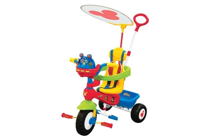 Велосипед трехколесный Kiddieland Микки МаусМикки МаусВелосипед трехколесный Микки Маус - замечательный детский велосипед. Такой велосипед обязательно понравится Вашему ребенку. С таким велосипедом не будет скучно на прогулке.   Характеристики: Подойдет для детей от 1 года Велосипед выполнен из высококачественных материалов Рама и ручка велосипеда металлические Козырек текстильный У велосипеда есть родительская ручка, которая управляет передним колесом Есть специальный барьер и фиксирующие ремешки для безопасности ребенка Удобное сидение с высокой спинкой Есть подножка, если ребенок не хочет крутить педали Педали можно заблокировать Сзади есть корзинка для игрушек 3 устойчивых колеса, которые сделаны из пластика У велосипеда яркая красивая расцветка На руле есть подставка для бутылочки Надежная конструкция прослужит долгие годы  Максимальная нагрузка 25 кг.<br>