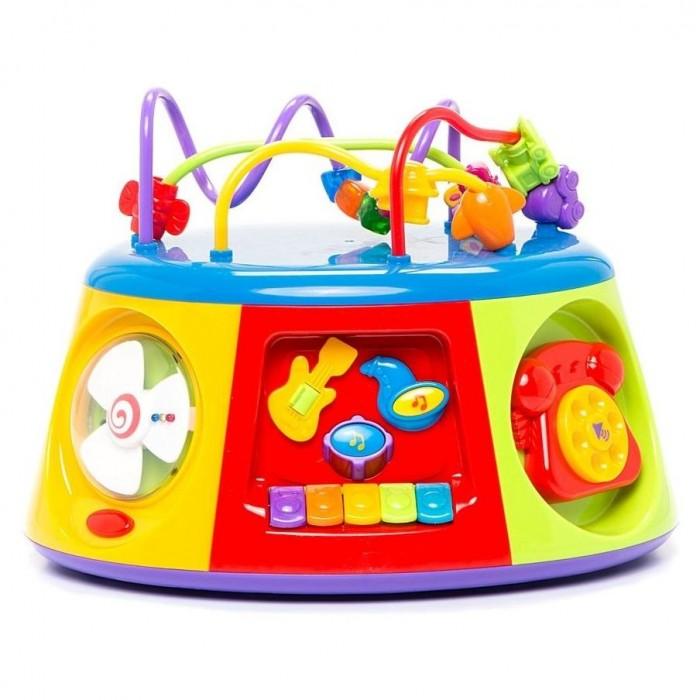 Игровой центр Kiddieland Игрушка Активный коробИгрушка Активный коробKID 051193 Активный короб — оригинальная музыкальная развивающая многофункциональная игрушка, настоящий игровой центр, озвученный на русском языке.  Изучая 7 сторон Мультицентра ребенок получит базовые знания о временах года, познакомится с 5 геометрическими фигурами и узнает их особенности, узнает как звучат разные музыкальные инструменты, научится определять время по стрелочным часам, сможет позвонить по своему первому телефону и сочинить свою первую мелодию!  Верхний модуль с разноцветными проводами поможет ребенку развивать мелкую моторику рук и логическое мышление.  Упаковка презентационно-открытая.  Питание: 3 батареи АА (входят в комплект).<br>