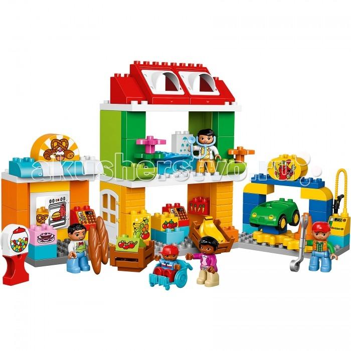 Конструктор Lego Duplo Городская площадьDuplo Городская площадьLego Duplo Городская площадь. Разыгрывайте реальные сценарии из жизни с помощью Lego Duplo: создавайте узнаваемый мир с новыми фигурками Duplo. Собирайте набор Городская площадь вместе с малышом: здесь вам предстоит так много увидеть и сделать! Поворачивайте зубчатые колеса, чтобы машина развернулась для ремонта, покупайте свежие продукты в булочной и в овощном магазине или отправляйтесь на приём к врачу! В набор входят пять минифигурок Duplo.  Обучающий набор включает в себя 98 деталей, среди которых 5 минифигурок людей. С помощью деталей и специальных аксессуаров ребенок сможет сконструировать и расположить на городской площади объекты: станцию технического обслуживания, булочную, кабинет врача, магазин овощей и фруктов. Проигрывая сценки из повседневной жизни, ребенок освоит новые модели поведения.   Покупая вместе с мамой свежий хлеб и фрукты, малыш научится выбирать и общаться с продавцами. Поймет, как вести себя на приеме у врача. Вращая зубчатые колеса, поучаствует в процессе ремонта автомобиля и сможет заправить его бензином. С набором вы придумаете бессчетное количество обучающих и полезных для всестороннего развития ребенка игр.  В комплекте 98 ярких деталей: минифигурки людей - продавец, доктор, техник, мама, ребенок аксессуары - коляска для ребенка, автомобиль, стетоскоп, гаечный ключ, бананы, батоны и тд. детали с изображениями духовки, пирога, калача, фруктов, кассовых аппаратов, вывесок, бензоколонки и тд. открывающиеся окна и двери, механизм вращения автомобиля. Можно собрать: булочную-кондитерскую магазин фруктов и овощей кабинет доктора станцию обслуживания автомобилей с бензоколонкой.<br>