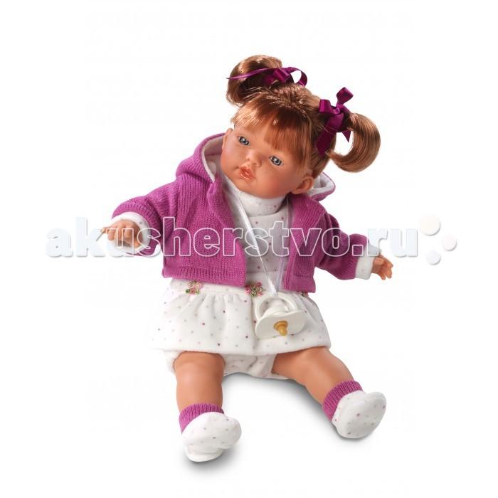Llorens Кукла Алиса 33 см со звукомКукла Алиса 33 см со звукомLlorens Кукла Алиса 33 см со звуком. Кукла из ПВХ с мягконабивным туловищем с наполнителем из синтетического волокна. Кукла умеет плакать и говорить мама, папа. Одета в белое платье, сиреневую кофточку, носочки.   К кукле прилагается соска. Если вынуть соску изо рта куклы, то она начинает плакать. Для того чтобы она перестала плакать - поместите соску в рот куклы. Глазки у куклы не закрываются. Волосы прошиты по всей голове. Упакована в подарочную упаковку.<br>