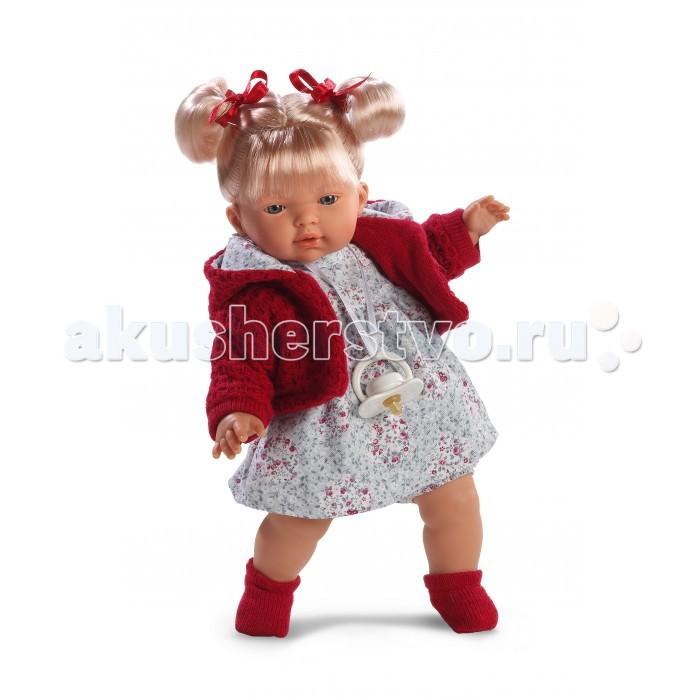 Llorens Кукла Изабела 33 см со звукомКукла Изабела 33 см со звукомКукла Изабела 33 см со звуком. Кукла из ПВХ с мягконабивным туловищем с наполнителем из синтетического волокна. Кукла умеет плакать и говорить мама, папа. Одета в светлое платье, красную кофточку, носочки.   К кукле прилагается соска. Если вынуть соску изо рта куклы, то она начинает плакать. Для того чтобы она перестала плакать - поместите соску в рот куклы. Глазки у куклы не закрываются. Упакована в подарочную упаковку.<br>